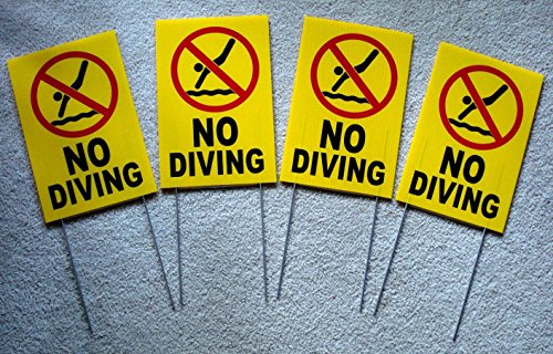 4-Pc Excessive Unique No Diving Symbol Yard Sign Swiming Declare Board Decal Outdoor Warning Pool Poster Plastic Stand Pools Rules Decor Swimming Keep Water Allowed Peeing Pond Size 8