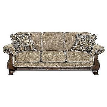 Amazon.com: Montgomery Mocha Sofa with 2 Throw Pillows ...