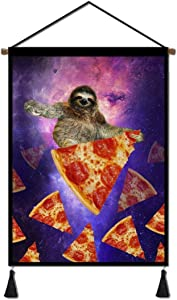 """Canvas Poster Hanger Scroll, Sunflower Flower Dog Hanging Posters Wall Art Tapestry for Living Room Bedroom Dining room Home Decoration with Hanging Kit (16""""Wx24H"""") ((Sloth Pizza)"""