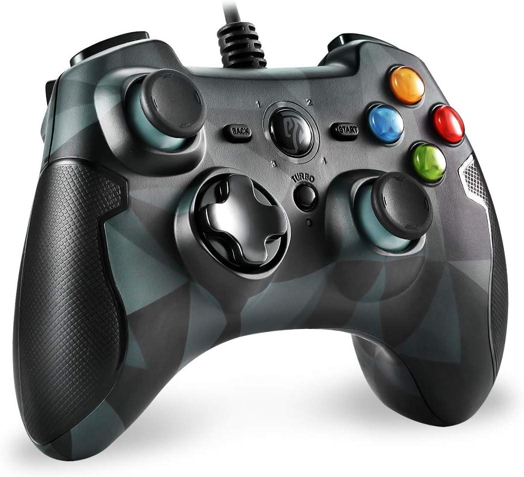 EasySMX Mando para PC, [Regalos para Padre] PS3 Gamepad Alámbrico, Joystick con los Botones de Doble-Vibración Turbo y Trigger Compatible con Windows/Android/ PS3/ TV Box (Camuflaje)