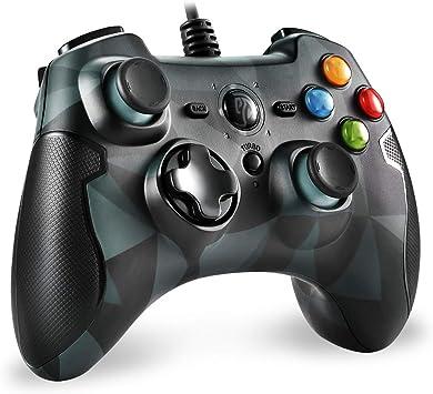 Todo para el streamer: EasySMX Mando para PC, [Regalos para Padre] PS3 Gamepad Alámbrico, Joystick con los Botones de Doble-Vibración Turbo y Trigger Compatible con Windows/Android/ PS3 (Camuflaje)
