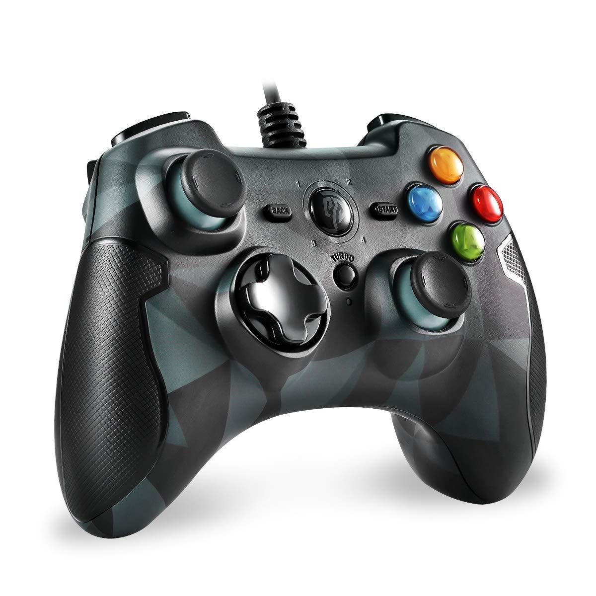 EasySMX Controller Joystick fü r Spiele mit Kabel mit Dual-Vibration, Turbo und Fronttasten fü r Windows/Android / PS3 / TV Box (Grau) ESM-9100-Gray