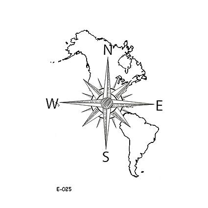 wyuen 5 hojas mapa del mundo brújula de las mujeres de tatuaje ...
