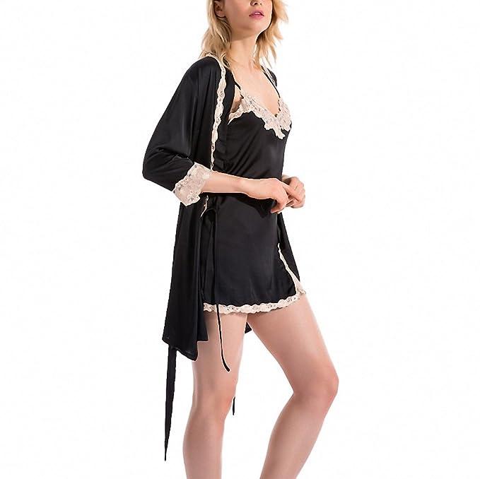 women sexy sleepdress+bathrobe two-piece robe&gown set lace embroidery silk sleepwear big size pijamas set at Amazon Womens Clothing store: