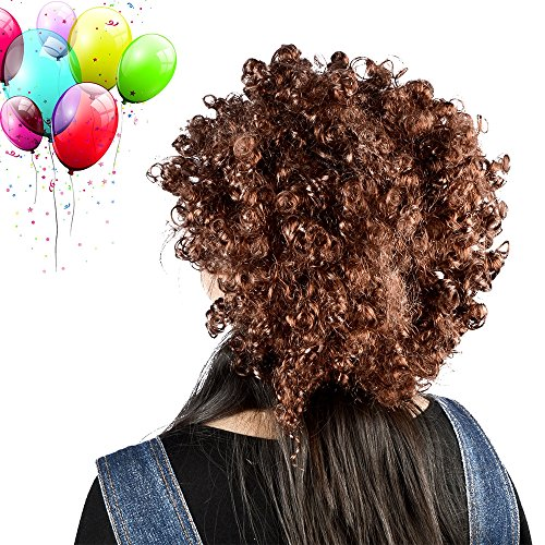 [Vani Afro Curl Curly Clown Costume Football Party 60s 70s 80s Disco Wig Hair (Brown)] (70s And 80s Party Costumes)