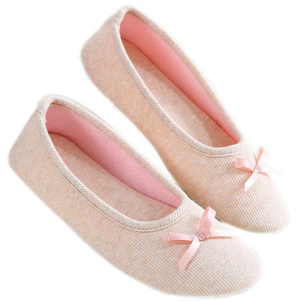 Barerun Women's Soft Slip-on Terry Ballerina Slipper for Indoor (6.5-7.5 B(M) US, Light Pink)