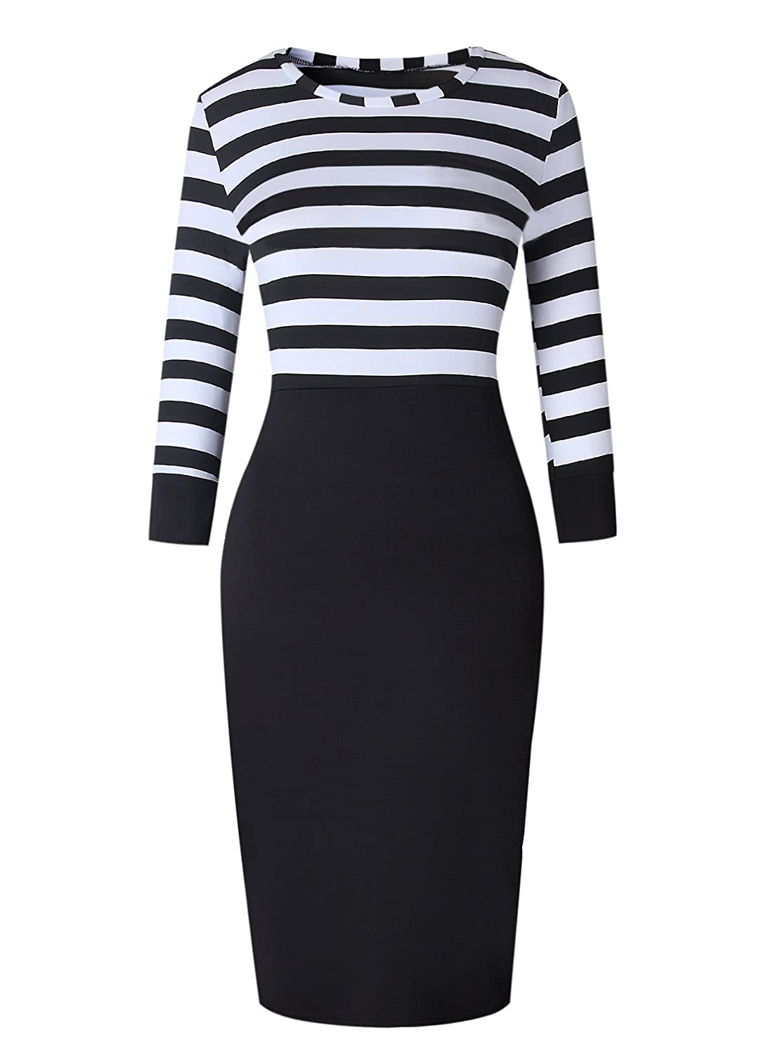 00a6630e536e4 Ranphee Black and White Striped Dress Women 3/4 Sleeve Patchwork Wear to  Work Office Sheath Dresses