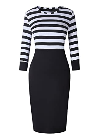 Ranphee Black And White Striped Dress Women 34 Sleeve Patchwork