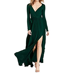 Shinieny Women's Deep V-neck High Slit Ruched Cocktail Gown Evening Maxi Dress