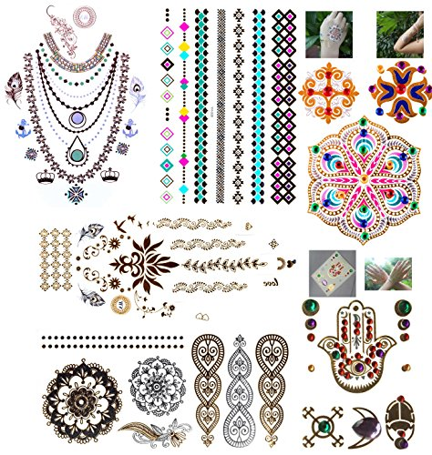 11 Sheets Body And Hair Metallic Temporary Flash Tattoos, Premium Pack, Gold, Metallic, Real Crystal Jewellery, Henna , Neon, 3D, Long Lasting Stickers