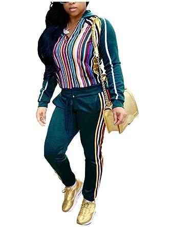 Andopa Sudadera conjuntos de pantalón largo rayado de ocio chándal ...