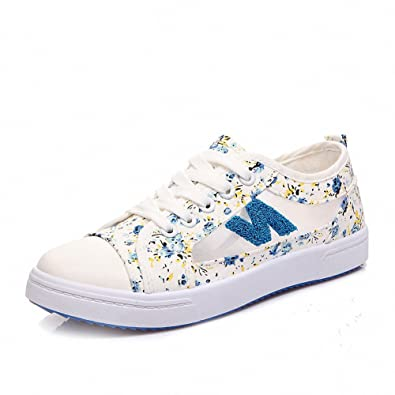 2650491c9c Shoexy Girls Womens Fashion Printing Canvas Sneakers Hollow Out Floral Low  Top Lace-up Slip