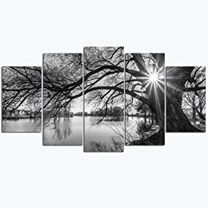 sechars - 5 Pieces Wall Art Old Tree by Lake Picture Canvas Prints Sunrise Painting Black and White Landscape Canvas Art Modern Wall Decoration Framed and Ready to Hang