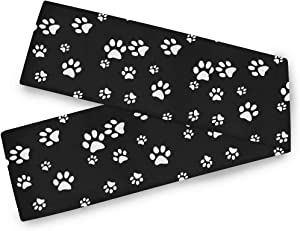MJ16 Rectangular Table Runner Dog Cat Animal Paw Print 13x70 inch Polyester Table Cloth Decor for Wedding Kitchen Party Dining Home Coffee Table