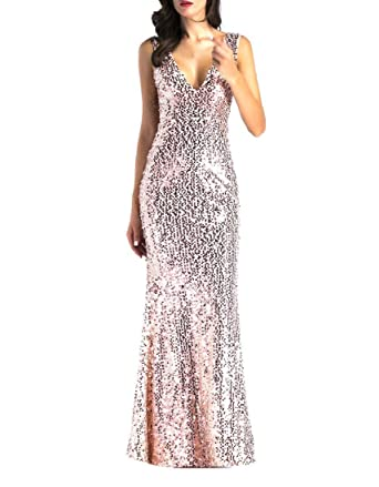 WQ EnergyWomen Women s Polyester V-Neck Sequins Sleeveless Maxi Bodycon  Dress (Golden 31b3a8c6dde3