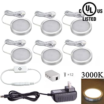 xking 6 pcs dimmable led under cabinet lighting kit dc12v12w warm white cabinet lighting 6