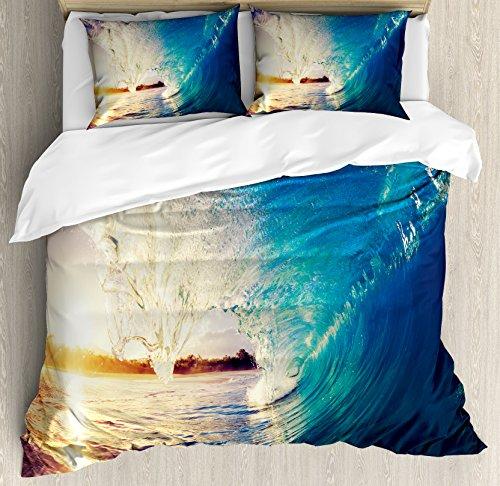 Surfer Bedding (Ocean Duvet Cover Set King Size by Ambesonne, Sunrise on Waves Surfer Perspective Surreal Coastal Charm Sports Lifestyle Scene, Decorative 3 Piece Bedding Set with 2 Pillow Shams, Blue Pale Mauve)