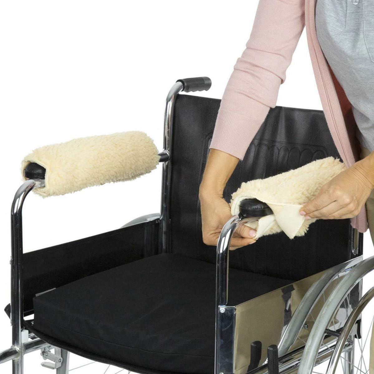 Funda para reposabrazos para silla de ruedas, 1 par, espuma viscoelástica de piel de oveja para personas mayores, cojín de apoyo suave para reposabrazos, alivio de presión acolchado (blanco)