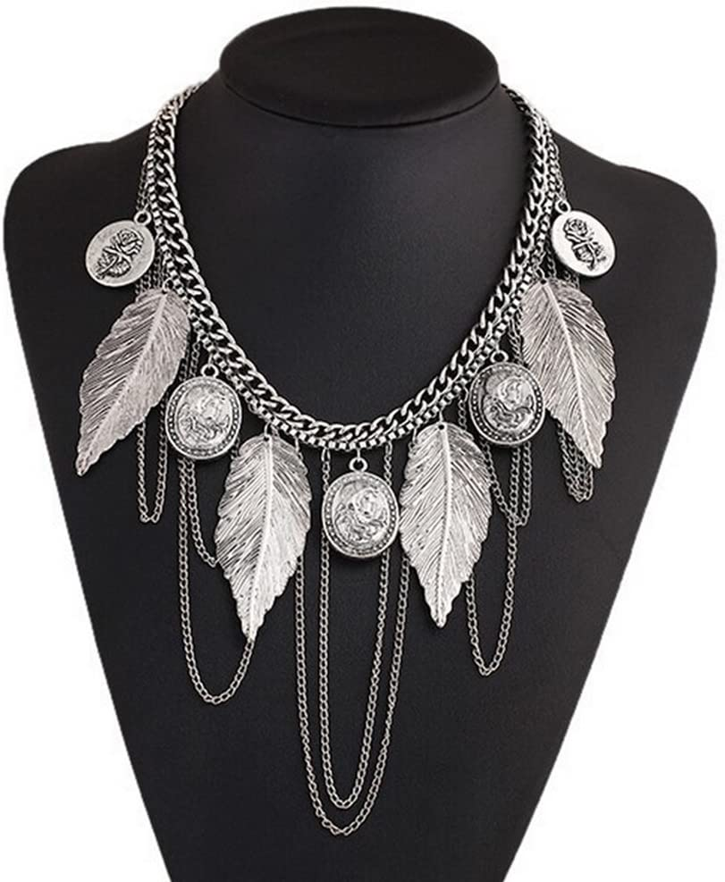 Daorier Collier Mode f/éminine Ladies Vintage Boho Feuilles Coin Tassel Colliers