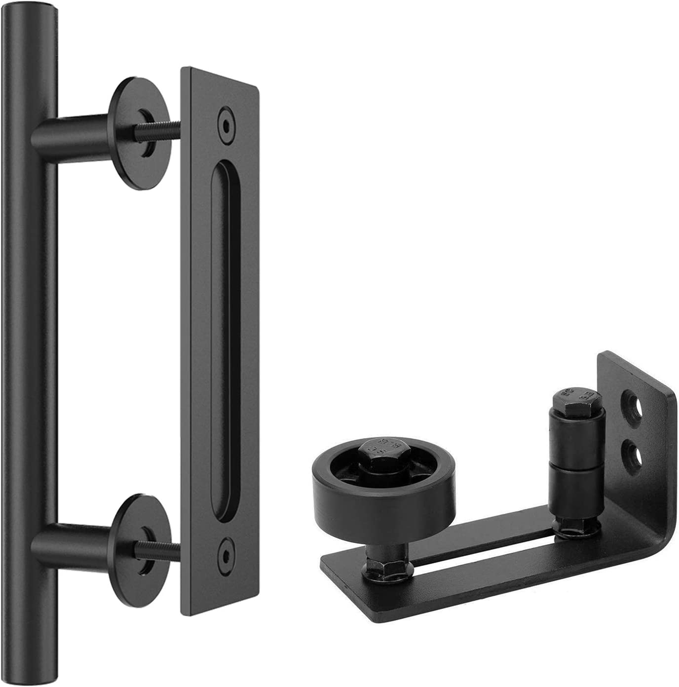 "Homlux Heavy Duty Sliding Barn Door Floor Guide and 12"" Round Handle for Sliding Barn Door(Black)"
