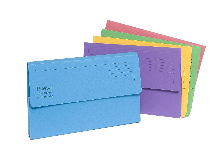 Forever - Portadocumenti semi-rigidi con lembo, confezione da 5, formato A4, colori assortiti