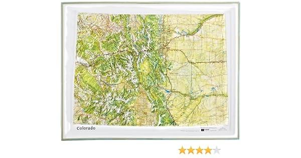 American Educational Colorado color natural relief mapa con oro marco de plástico, 17 – 1/2