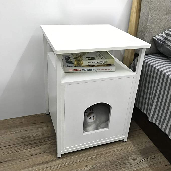 Lv. life Nightstand Pet House - Arenero para Gatos, Madera, Color Blanco: Amazon.es: Productos para mascotas
