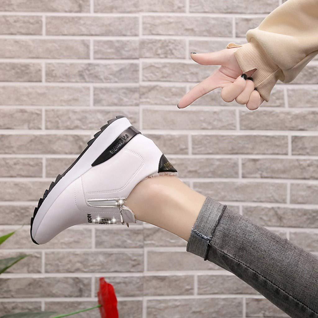 Aumento de la Moda de Las Mujeres Carta Caliente de Cristal Cuñas Zip Mocasines Zapatos de Punta Redonda: Amazon.es: Zapatos y complementos