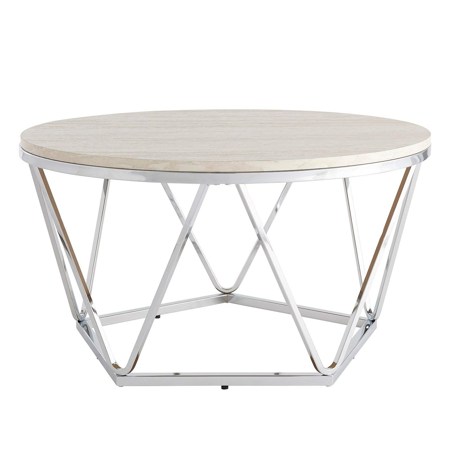 Fantastic Amazon Com Modern Silver Round Faux Stone Table Top Andrewgaddart Wooden Chair Designs For Living Room Andrewgaddartcom