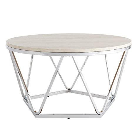 Groovy Amazon Com Modern Silver Round Faux Stone Table Top Ncnpc Chair Design For Home Ncnpcorg