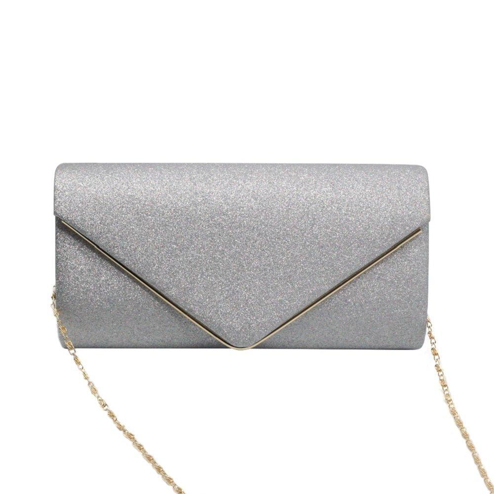 Women's Evening Purse Shining Clutch Bag Bling Chain Shoulder Bag Envelope Flapped