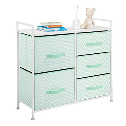 mDesign Wide Dresser Storage Tower Furniture - Metal Frame, Wood Top, Easy  Pull Fabric Bins - Organizer for Kid's Bedroom, Hallway, Entryway, Closet,