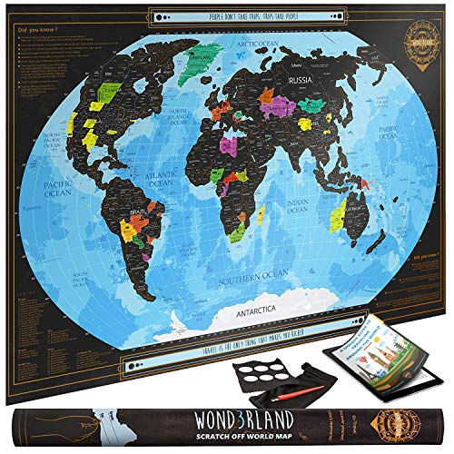 - Travel XL Scratch Off Map of the World with outlined US States | Personalized Wall Map Poster | Deluxe Gift for Travelers| BONUS Adhesive Stickers + Scratching Tool + Wiping Cloth + Traveling eBook