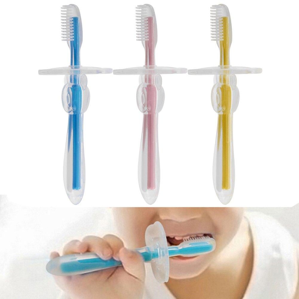 PChero 3pcs Cepillo Primi de dientes de silicona + 3pcs Cepillo de Dientes de Dedo Masaje Oral de Bebé, juego de cepillo para padres y niños