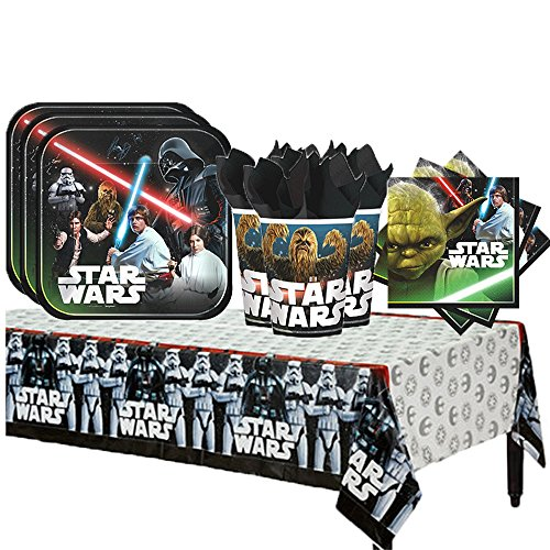 (Star Wars Classic Party Supplies Party Pack for 16 Guests Plates, Cups, Napkins, Tablecover)