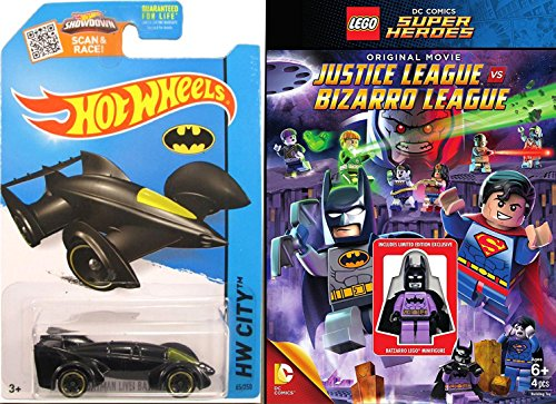 Lego Justice League VW Bizarro League [Blu-ray] & Hot Wheels Batmobile car Lego Figure Animated Movie Super Hero Batman Superman Set (Batman Vs Robin Collectibles Dc)
