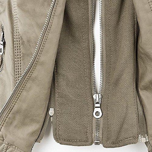 Cappuccio Donna Beige Pelle Manica Ecopelle Giubbotto Invernali Minetom Giacche Con Cappotti Moto Lunga Finta xwf11g