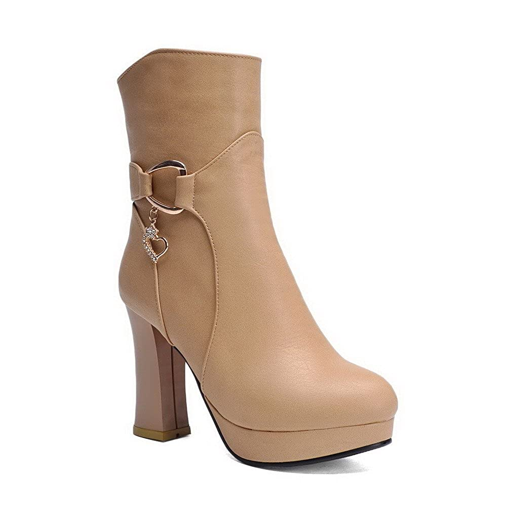 AmoonyFashion Womens Pu Low Top Solid Buckle High Heels Boots