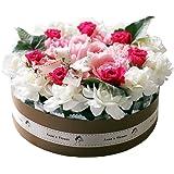 おいしそうなお花のデコレーションケーキ!やさしいピンク♪スリムキャンドルがお洒落! お誕生日に生花のおしゃれなアンオリジナルフラワーケーキ 日時指定無料