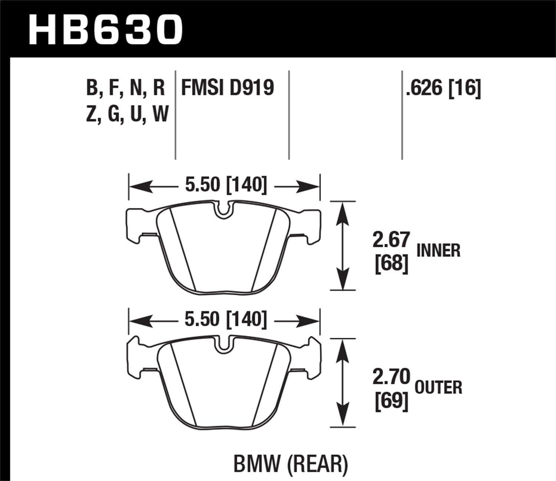 Hawk Performance HB630G.626 Disc Brake Pad DTC-60 w//0.626 Thickness Disc Brake Pad