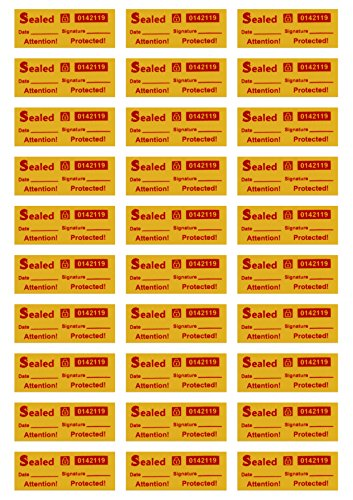 100 Customs Stickers - Tamper Evident Stickers - Tamper Proof Stickers - Security Seal - Tamper Resistant Labels - Quality Control - Warranty Void Labels - Unique Sequential Serial Numbering - Yellow