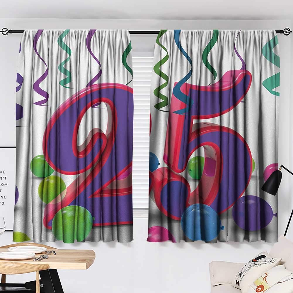 Jinguizi 25th Birthday Curtain for Kids Room Vibrant Birthday Party Set Up Colorful Ribbons and Balloons on The Ground Party Darkening Curtains Multicolor W55 x L39 by Jinguizi (Image #2)