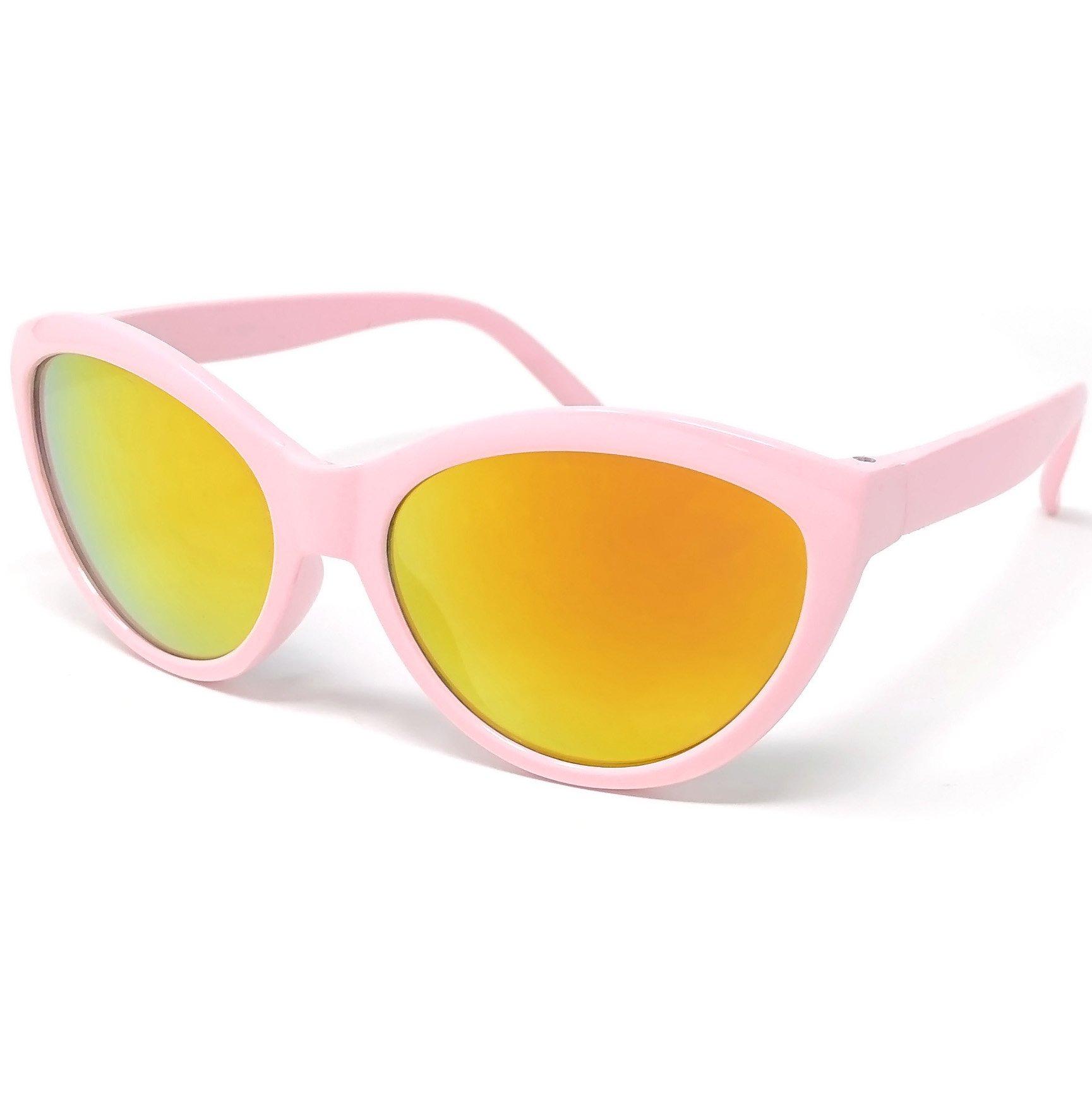 Loose Leaf Eyewear Kids Girls Pink Cateye Sunglasses in Revo Lens with Unicorn Print Case
