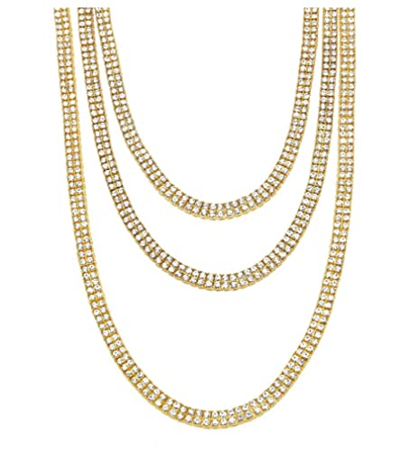 Starryinter 14K Gold Plated 2-Row Iced Out Tennis Chain Mens Hip Hop Necklace with Size and Color Selectable-DL224