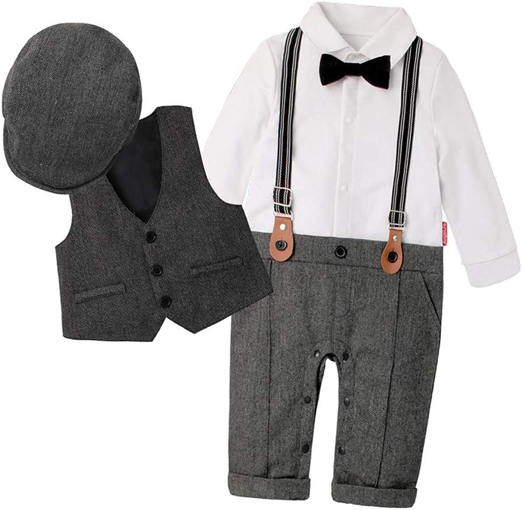 Fairy Baby Boys Outfits Set 3pcs Long Sleeve Gentleman Tuxedo Vest Coat Berets Hat