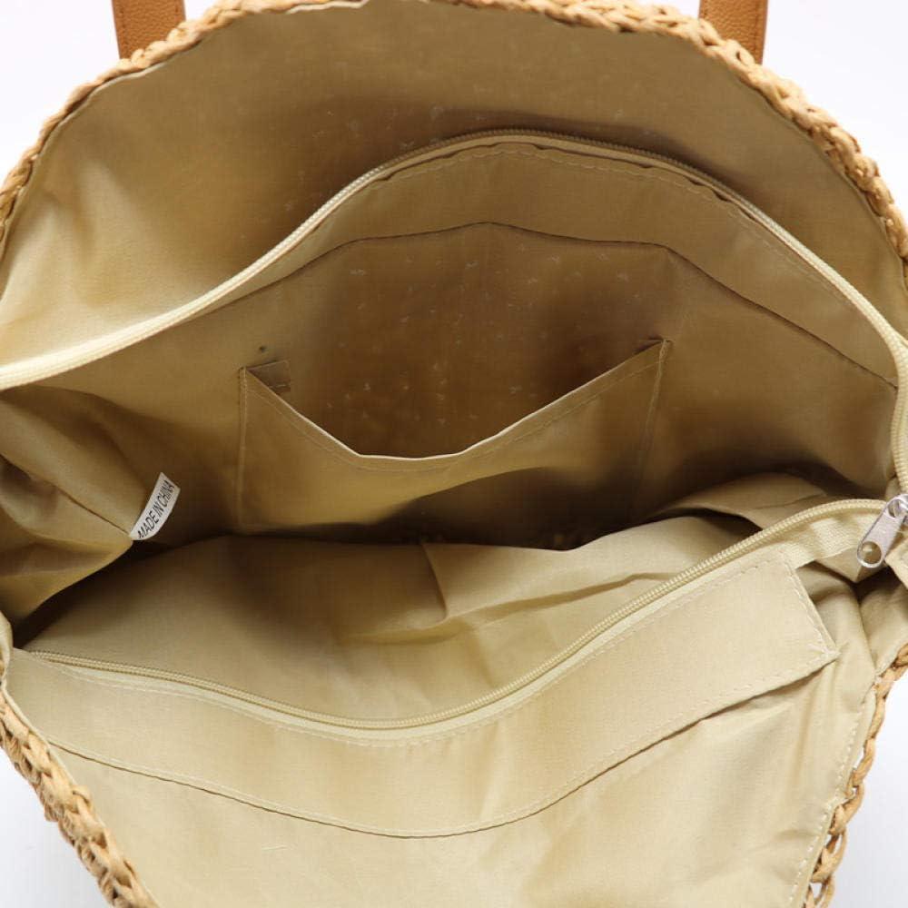 shunlidas New Natural Ladies Tote Borsa Grande Tessuto a Mano Grande Borsa di Paglia Rotonda popolarità di Paglia Borsa a Tracolla da Donna Borsa da Spiaggia-Beige_Grande Marrone
