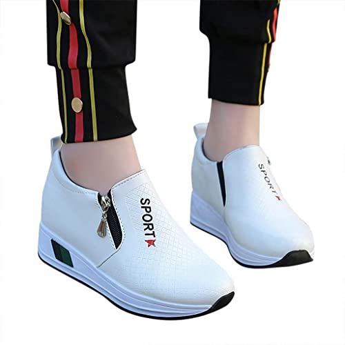 2a711aa3e5ce3 Amazon.com: Seaintheson Women's Sneaker, Women Ladies Thick Heels Platform  Casual Zipper Wedges High Top Walking Sports Shoes Fashion Loafers White:  ...