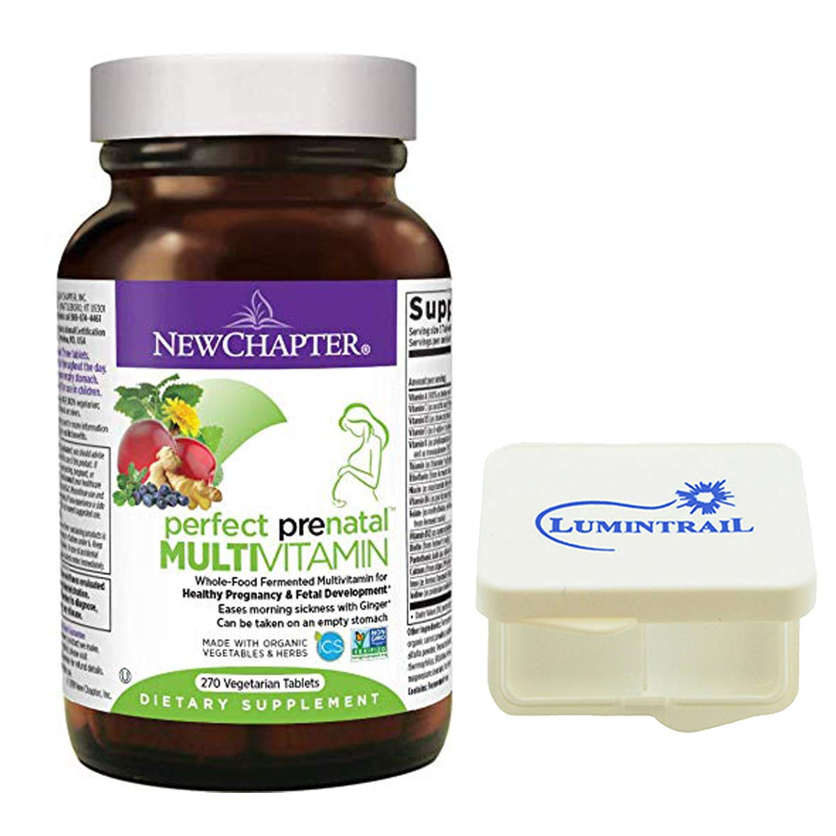 New Chapter Perfect Prenatal Vitamins, Womens Multivitamin, Eases Morning Sickness with Ginger - 270 Vegetarian Tablets Bundle with a Lumintrail Pill Case