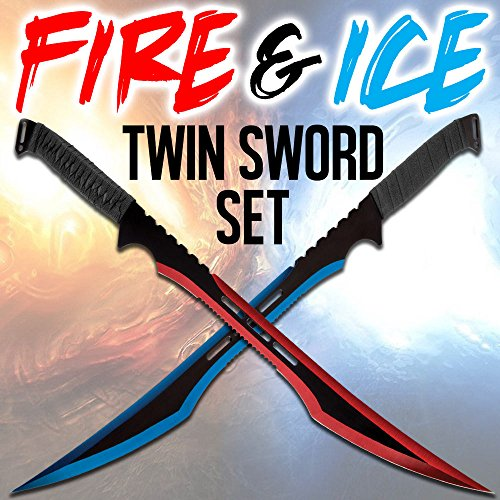 K EXCLUSIVE Fire and Ice Twin Sword Set with Black Nylon Double Sheath