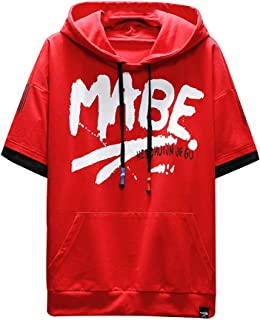 Men Summer New Casual Fashion Printing Hoodie T-Shirts Short Sleeves Top Blouse